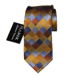 Men's Jos A Bank Silk Tie Long Geometric